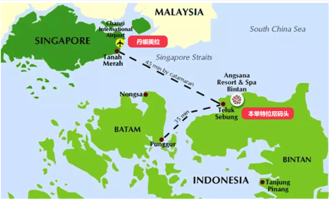 从新加坡到民丹岛坐船只要55分钟